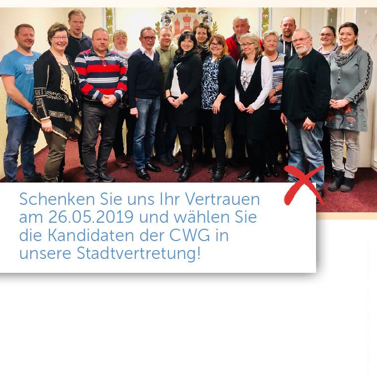 Wahlflyer der CWG für die Kommunalwahlen 2019 in Crivitz